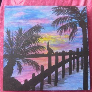 Pelican and Palm Trees Tropical Sunset Painting